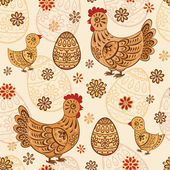 Seamless pattern with folk chicks and eggs