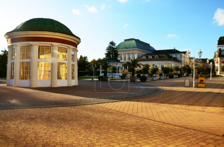 Pedestrian zone in spa Franzensbad with fountain Francis