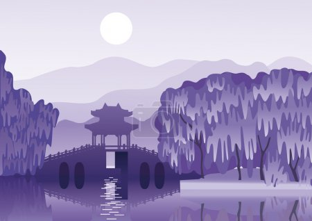 Chinese landscape with a ancient bridge