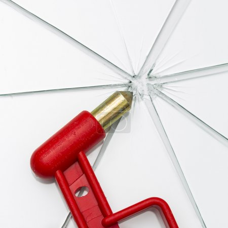Emergency hammer red rescue disk hammer broken glass splinter danger notfal bus beating thorn window