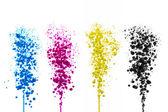 Olejová barva azurová purpurová koule bubliny tisk cmyk barevný model splash druckerei farbklecks barevné