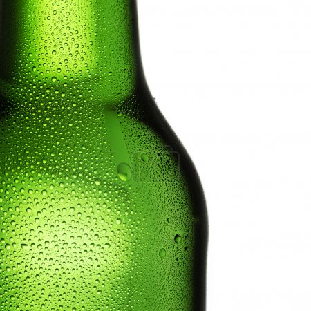 Beer bottle bottleneck condensation dripping green chilly dew beer froth brewery disco summer party