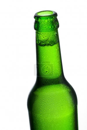 Beer bottle bottleneck bubbles condensation dripping green chilly dew brewery disco summer party