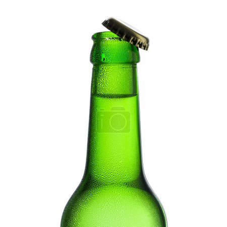 Beer bottle kron cork neck condensation dripping chilly dew beer froth brewery disco summer party