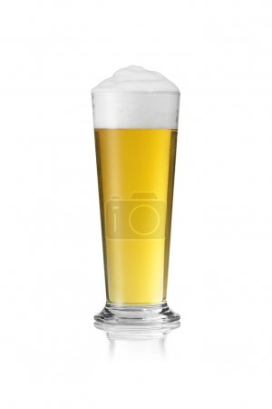Beer glass rod Altbier beer froth dripping foam crown gold pils alcohol brewery Gastro isolated