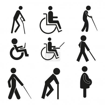 Set icon symbol wheelchair notebook pregnant blind crutch sign handicapped accessible