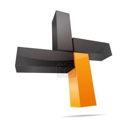 3D abstract cube cuboid cross x rectangle orange sun summer symbol corporate design icon logo trademark