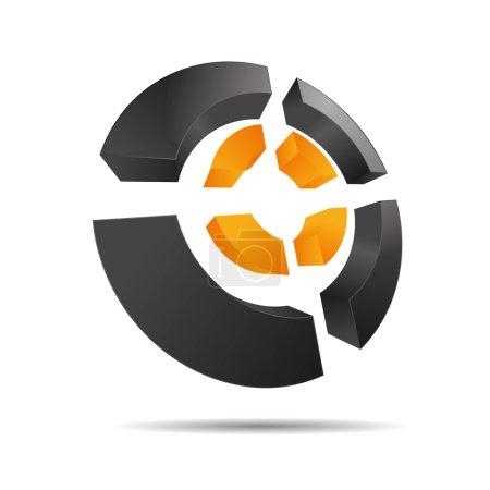 Illustration pour 3D abstrait orange soleil été circulaire symbole anneaux coins croix cube symbole icône sur fond blanc créé dans Adobe Illustrator . - image libre de droit