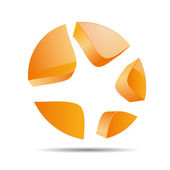 3D abstract circle shooting star starlets symbol corporate design icon logo trademark