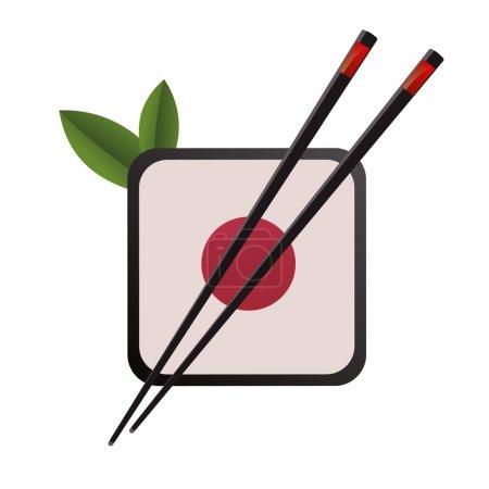 3D abstraction japan china restaurant eating chopsticks circle suhsi logo