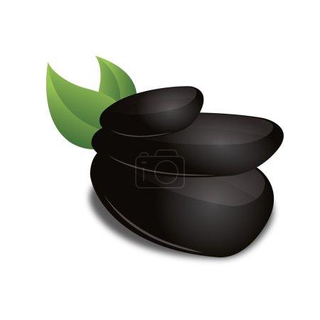 3D Black basalt grean leaf stone zen wellness corporate design icon logo trademark