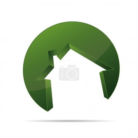 3D building house home architect circular form symbol corporate design icon logo trademark