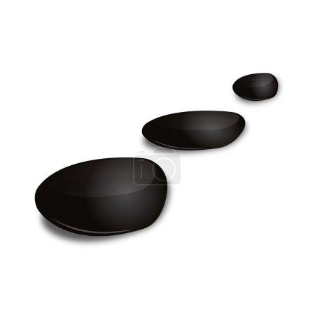 3D Black basalt stone asia zen wellness corporate design icon logo trademark