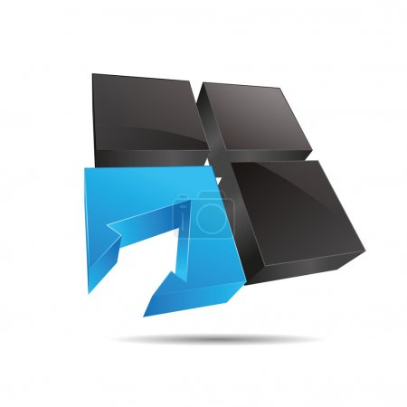 3D abstract cube blue water window square arrow direction symbol corporate design icon logo trademark