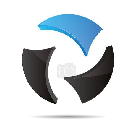 3D abstract ball circular World globe blue water sky symbol corporate design icon logo trademark
