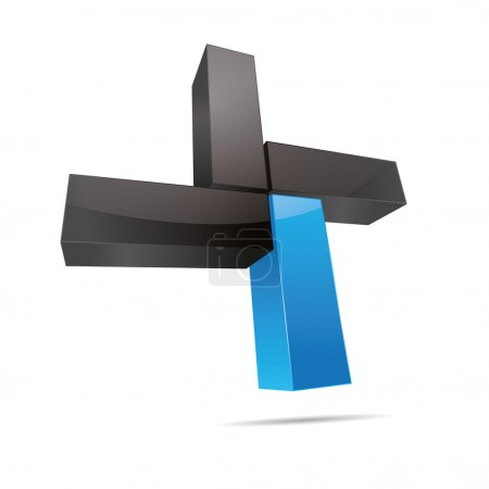 3D abstract cube cuboid cross x rectangle blue water sky symbol corporate design icon logo trademark