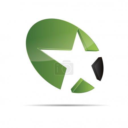 3D abstract green nature wood eco star starfish christmas template design icon logo trademark