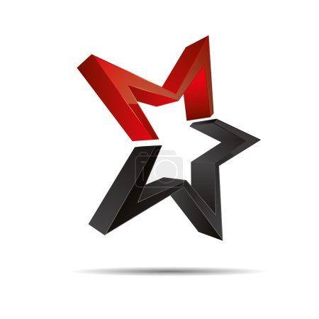 Illustration pour Modèle d'étoile de mer rouge abstrait 3D icône de symbole de Noël sur fond blanc créé dans Adobe Illustrator . - image libre de droit