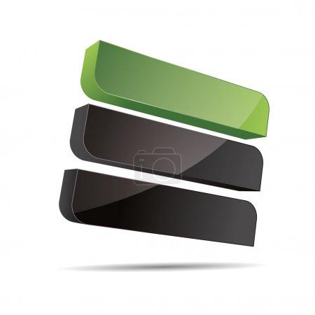 3d abstrait nature verdoyante entreprise bio eco rigide rectangle cube ligne voile conception icône logo marque