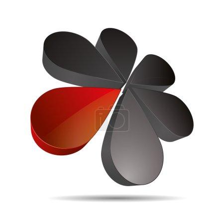 3D abstract drip flower circular round sun sunflower symbol corporate design icon logo trademark