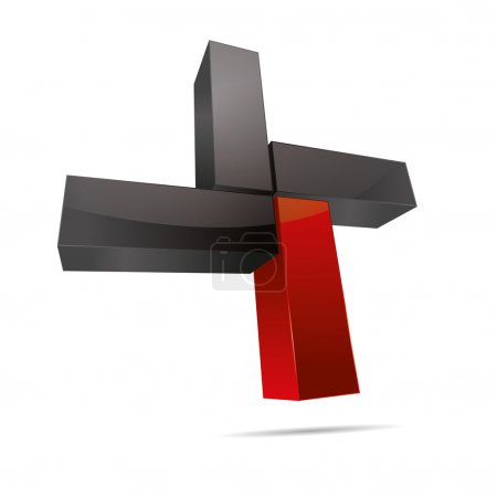 3D abstract cube cuboid cross x rectangle red symbol corporate design icon logo trademark