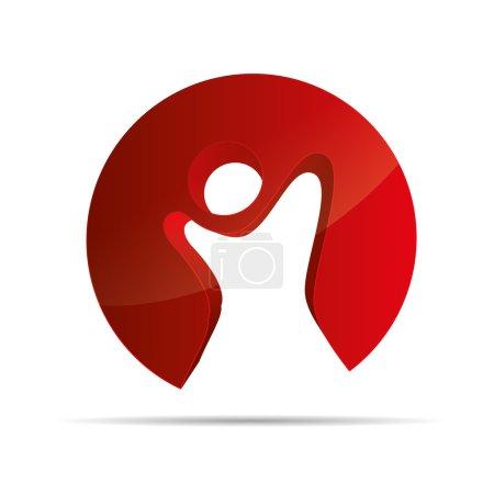3D abstract red figure stickman circular kids freedom symbol corporate design icon logo trademark