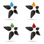 3D abstract set figure stickman flower drip star symbol corporate design icon logo trademark