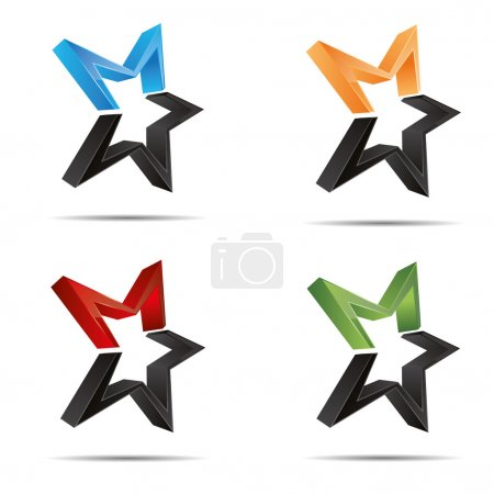 3D abstract set shooting star starlets starfish symbol corporate design icon logo trademark