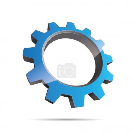 Illustration for 3D pinion wheel bleu water motor engineering metal logo abstract on white background created in Adobe Illustrator. - Royalty Free Image