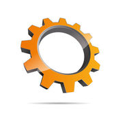3D abstraction pinion sun wheel red motor engineering metal corporate logo design icon sign