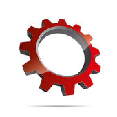 3D abstraction pinion wheel red motor engineering metal corporate logo design icon sign