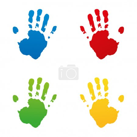 set handprint footprint fingerprint vector hand kidshand stamp kidsgarden child