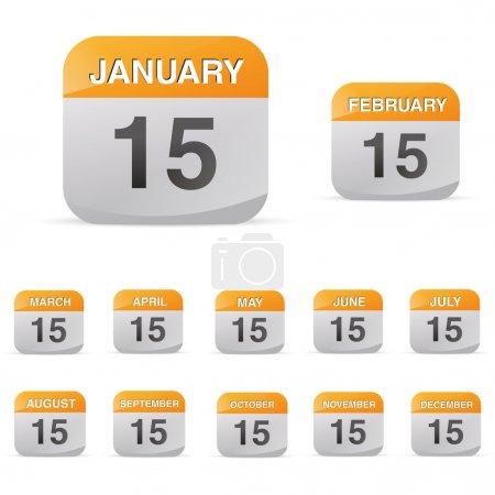 Illustration pour Bureau memo calendrier mois kalendarium mit signe symbole transparent plan créé dans adobe illustrator. - image libre de droit