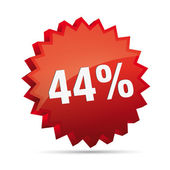 44 forty-four percent reduced 3D Discount advertising Button badge on White background created in Adobe Illustrator