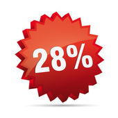 28 twenty-eighth percent reduced 3D Discount advertising Button badge on White background created in Adobe Illustrator
