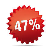 47 forty-seven percent reduced 3D Discount advertising Button badge on White background created in Adobe Illustrator