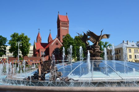 Belarus, Minsk, independence square, the Church of St. Simeon and St. Helen