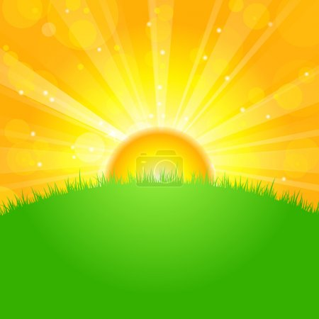 Illustration for Vector illustration sunrise over field - Royalty Free Image