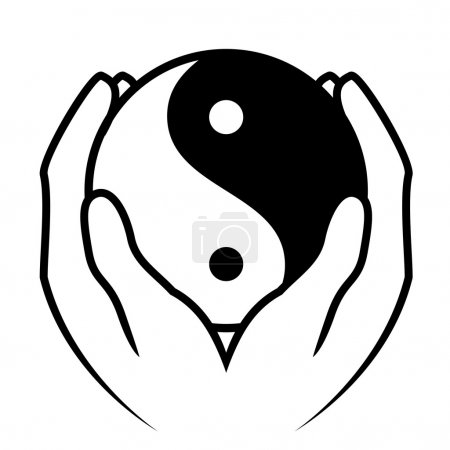 Vector illustration of hands holding yin yang symbol