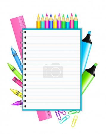 """Illustration pour """"Retour à l'école """"- cadre vectoriel avec papeterie colorée - image libre de droit"""