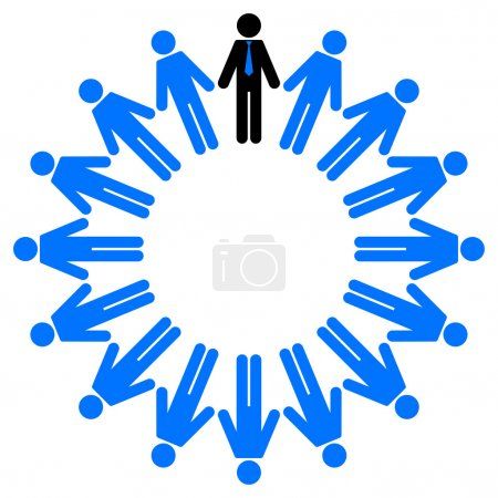 Vector illustration of employees and manager in circle