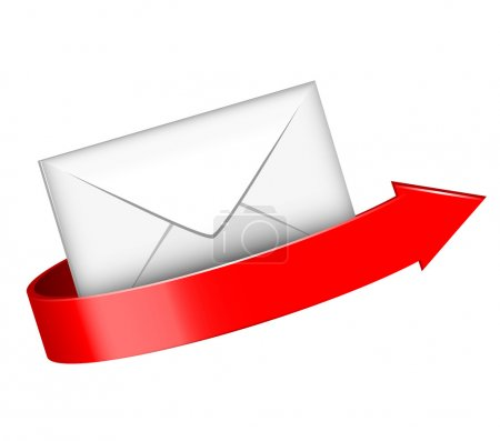 Vector illustration of envelope and red arrow