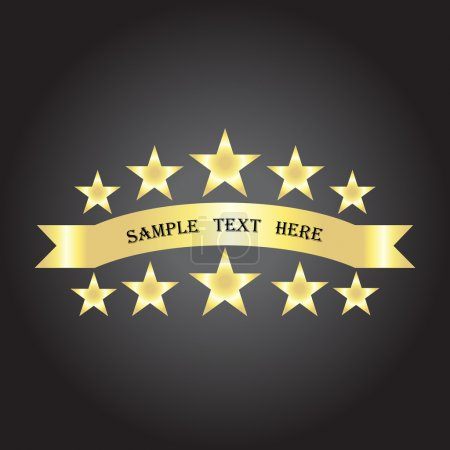 Vector background with gold ribbon and stars