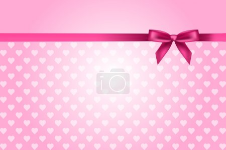 Vector pink background with hearts pattern and bow