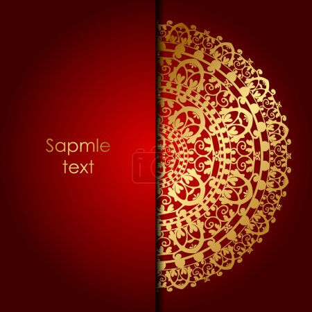 Illustration for Vector red background with gold ornament - Royalty Free Image