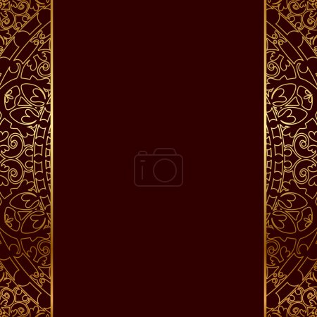 Vector red & gold frame with oriental ornament