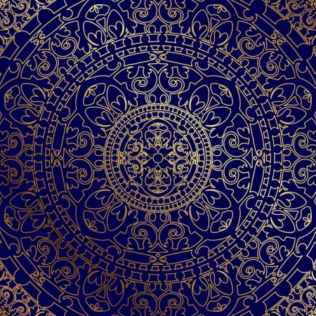 Illustration for Vector oriental blue background with gold ornament - Royalty Free Image