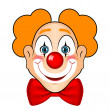 Vector illustration of smiling clown with red bow...