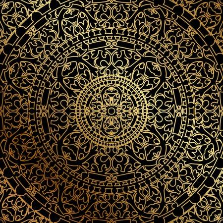 Vector fond noir avec ornement oriental or