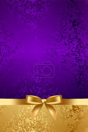 Illustration for Vector luxury background with gold bow - Royalty Free Image